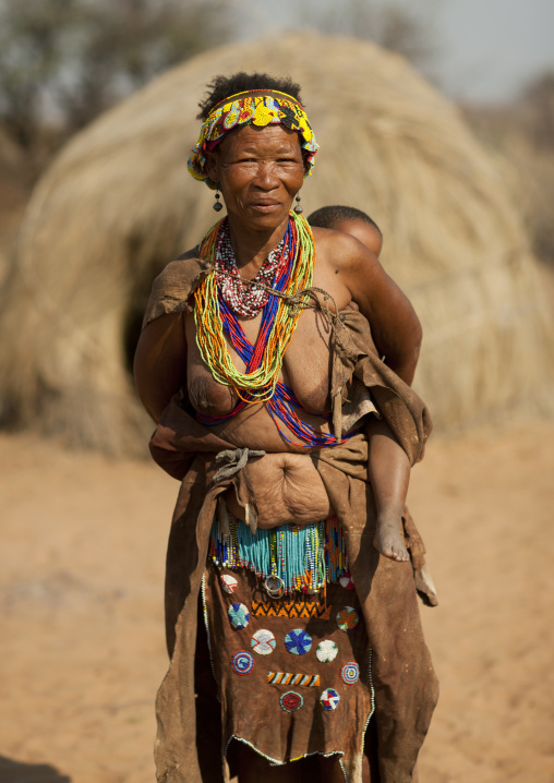 San Woman Carrying Her Baby On Her Back, Namibia