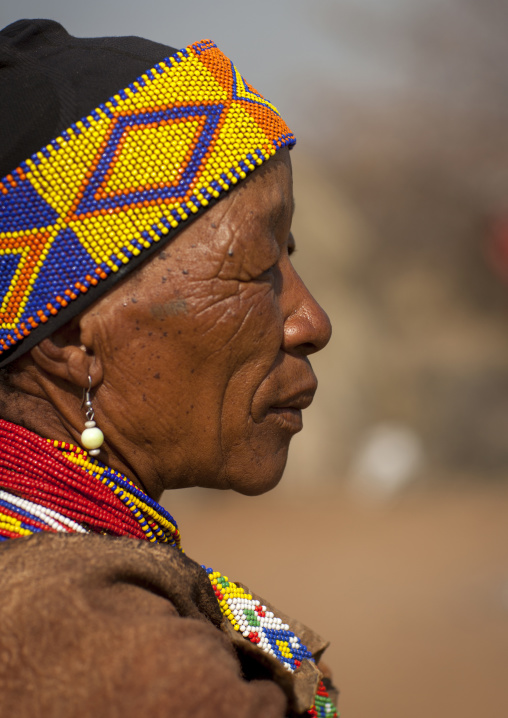Bushman Woman With Beaded Headwear, Tsumkwe, Namibia
