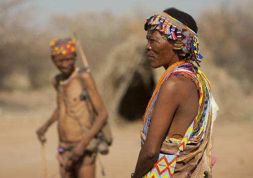 San Wearing Beaded Ornaments, Namibia