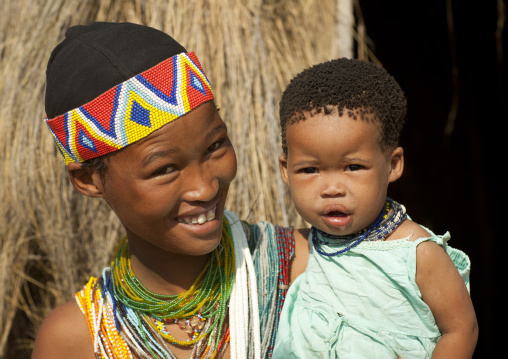 San Woman With Her Baby, Namibia