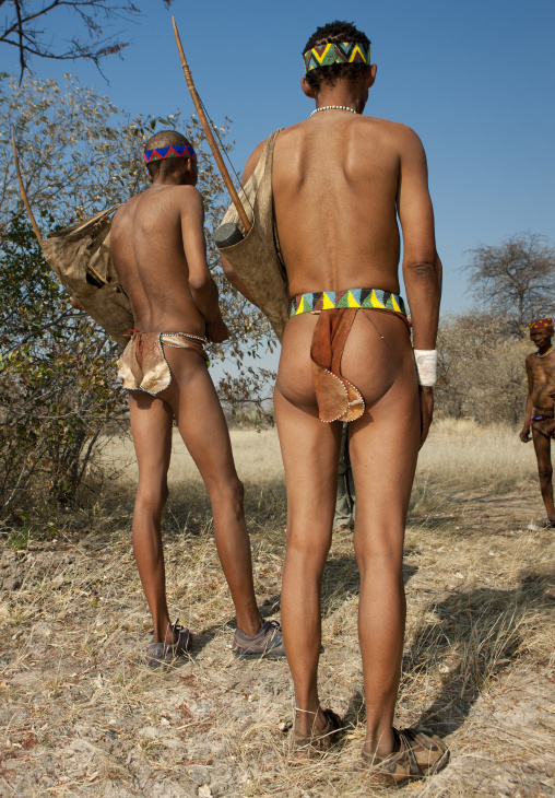 Hunters From The San Tribe With Their Bows, Namibia
