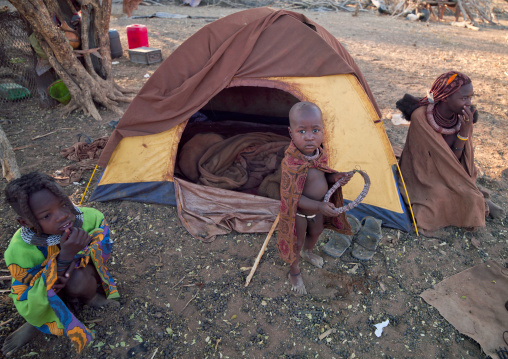 Himba Children In Front Of A Modern Tent, Namibia