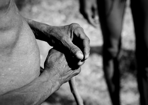 San Hands Holding A Walking Stick, Namibia