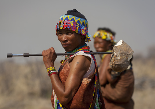 San Woman With A Tuber On A Stick, Namibia