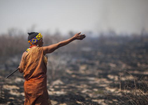 Bushman Woman In The Bush After A Fire, Tsumkwe, Namibia