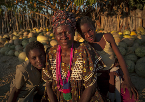 Ovambo Woman And Children, Ruacana Area, Namibia