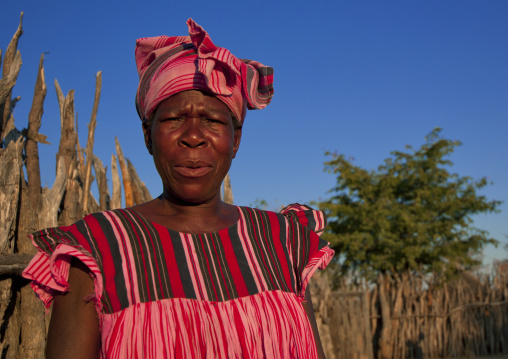 Ovambo Woman In Traditional Clothes, Ruacana Area, Namibia