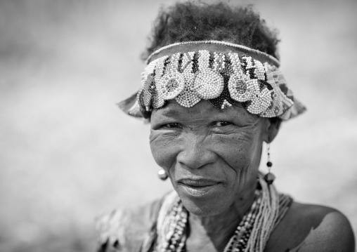 Old San Woman With Traditional Headdress, Namibia
