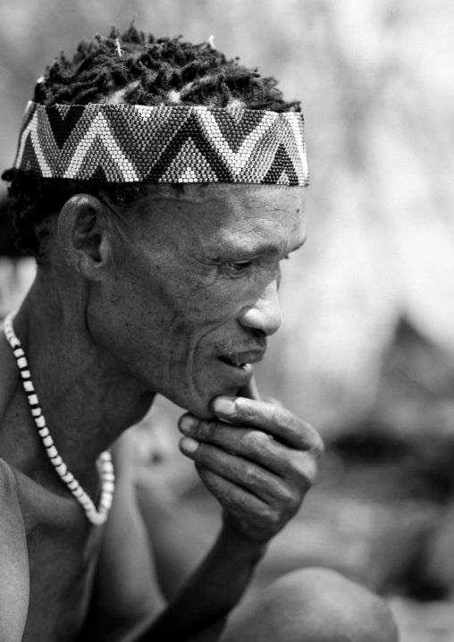 San Man Wearing A Beaded Headband, Namibia