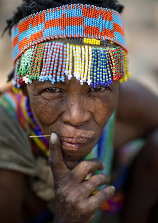 San Woman With A Beaded Headdress, Namibia