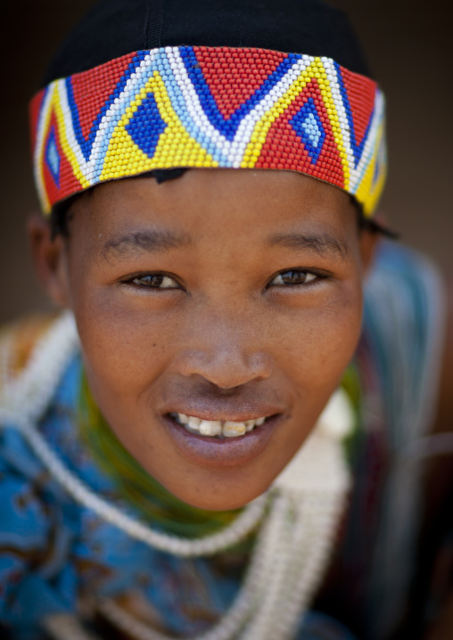 San Woman Wearing A Beaded Headband, Namibia