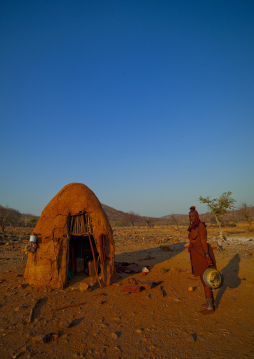 Himba Woman Next To Her Hut, Okapale Area, Namibia