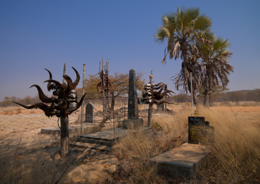 Himba Graves Decorated With Cattle Horns, Namibia