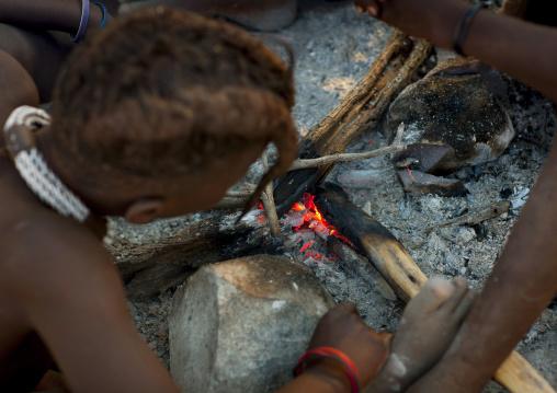 Sacred Fire In Himba Tribe, Ruacana, Namibia