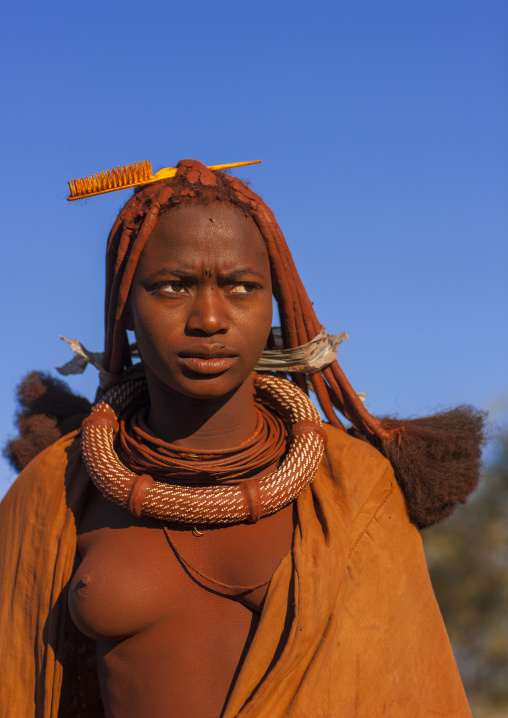 Bare Breasted Himba Woman Called Kasweet, Karihona Village, Ruacana Area, Namibia