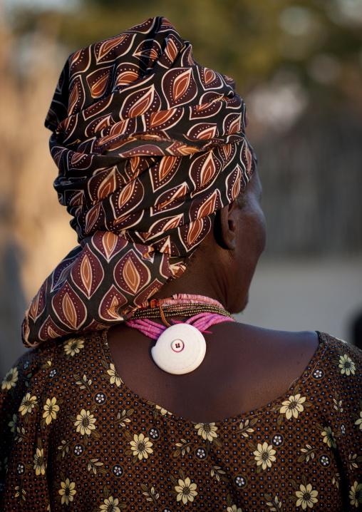 Ovambo Woman Wearing A Wedding Necklace, Ruacana Area, Namibia