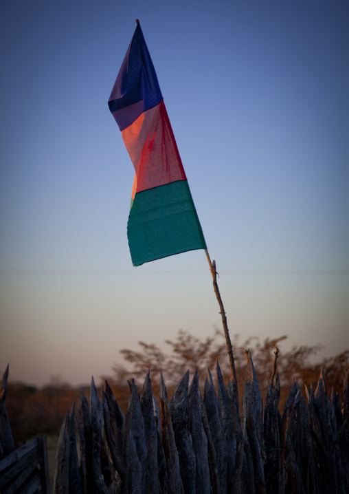 Flag Of A Political Party In An Ovambo Village, Ruacana Area,  Namibia