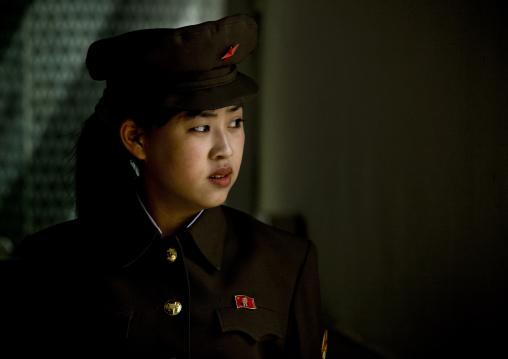 North Korean woman guard in central history museum, Pyongan Province, Pyongyang, North Korea