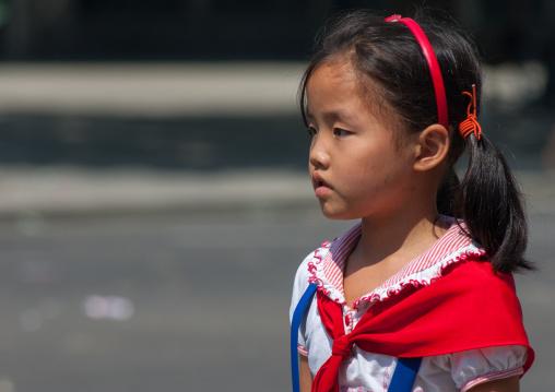 Portrait of a North Korean pioneer girl, Pyongan Province, Pyongyang, North Korea