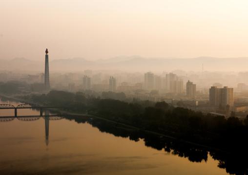 Cityscape and Taedong river at dawn, Pyongan Province, Pyongyang, North Korea