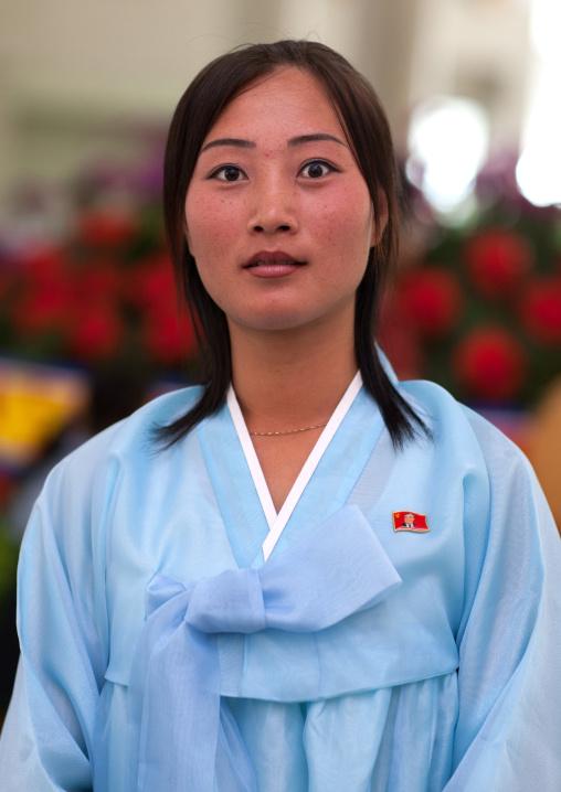Portrait of a North Korean woman in traditional choson-ot, Pyongan Province, Pyongyang, North Korea
