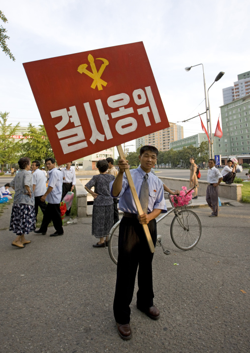 North Korean man from the workers' Party of North Korea during the september 9 parade, Pyongan Province, Pyongyang, North Korea