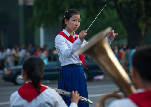 North Korean pioneers playing music during the celebration of the 60th anniversary of the regim, Pyongan Province, Pyongyang, North Korea