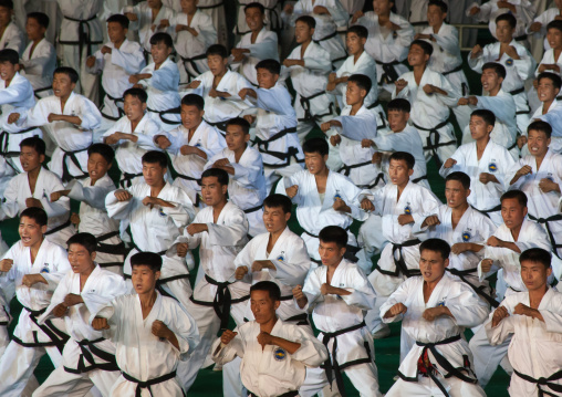 Taekwando men diuring the Arirang mass games in may day stadium, Pyongan Province, Pyongyang, North Korea
