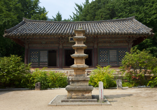 Pagoda in front of Songbul buddhist temple, North Hwanghae Province, Sariwon, North Korea