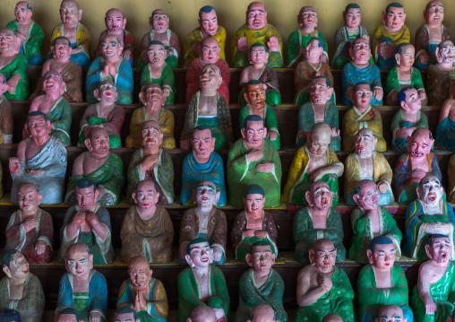 Buddha's students statues inside Songbul temple, North Hwanghae Province, Sariwon, North Korea