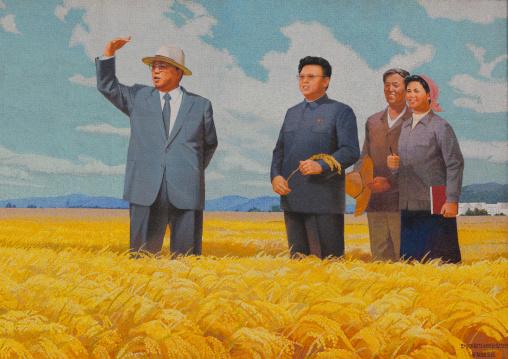Propaganda fresco with Kim il Sung and Kim Jong il in a field, Kangwon Province, Chonsam Cooperative Farm, North Korea