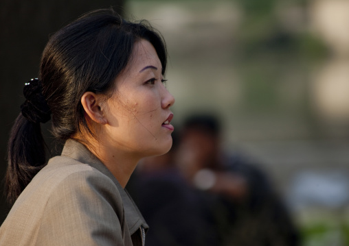 Portrait of a North Korean woman in the street, North Hwanghae Province, Sariwon, North Korea