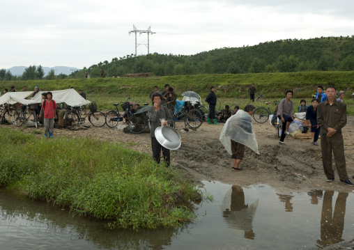 Market in the countryside in a muddy area, North Hwanghae Province, Kaesong, North Korea