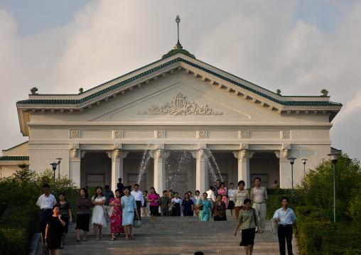 North Korean people leaving moranbong theatre, Pyongan Province, Pyongyang, North Korea