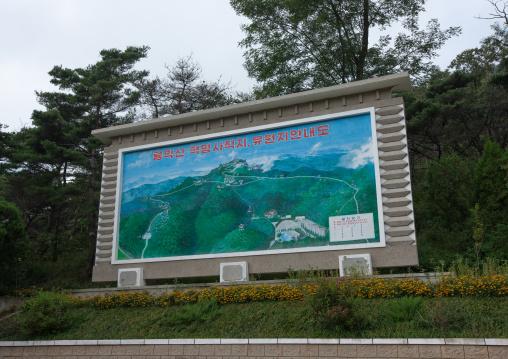 Map of the revolutionary site in mount ryongak, Pyongan Province, Pyongyang, North Korea