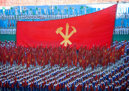 Workers' Party of North Korea giant flag during the Arirang mass games, Pyongan Province, Pyongyang, North Korea