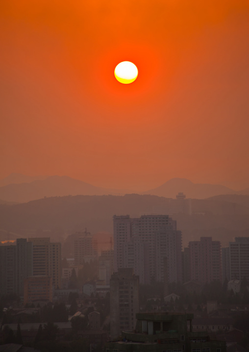 Sunset over the city buildings, Pyongan Province, Pyongyang, North Korea