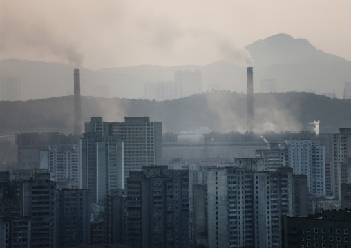 Pollution of a coal factory in the town, Pyongan Province, Pyongyang, North Korea