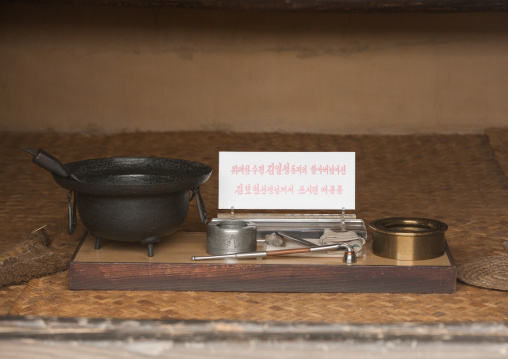 Old tools used by Kim il Sung Grand father in Mangyongdae native house, Pyongan Province, Pyongyang, North Korea