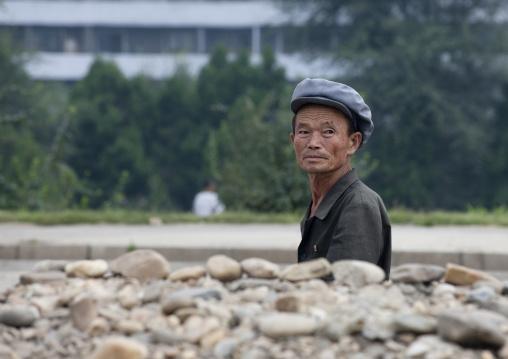 North Korean worker repairing a road, Pyongan Province, Pyongyang, North Korea