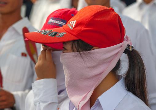 North Korean young women in the street, Pyongan Province, Pyongyang, North Korea