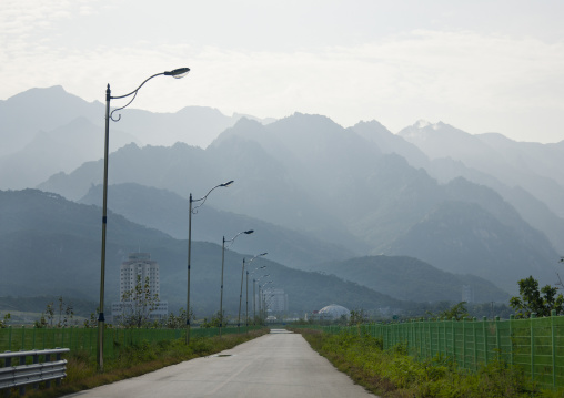 Empty road leading to the former meeting point between families from North and south, Kangwon-do, Kumgang, North Korea