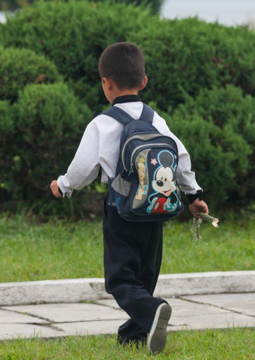 North Korean boy with a Mickey mouse bag, Kangwon Province, Wonsan, North Korea