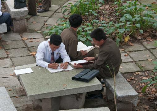 North Korean students working in a park, South Hamgyong Province, Hamhung, North Korea