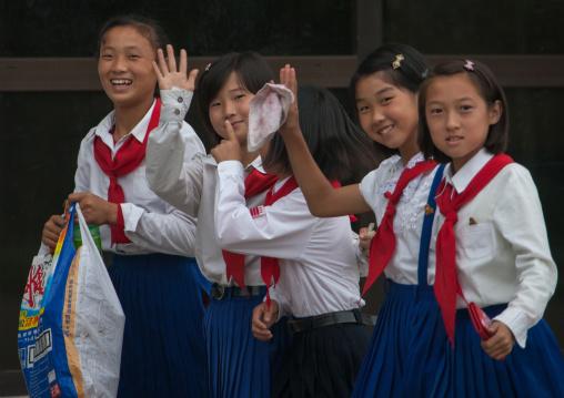 North Korean pioneers girls in Songdowon international children's camp, Kangwon Province, Wonsan, North Korea
