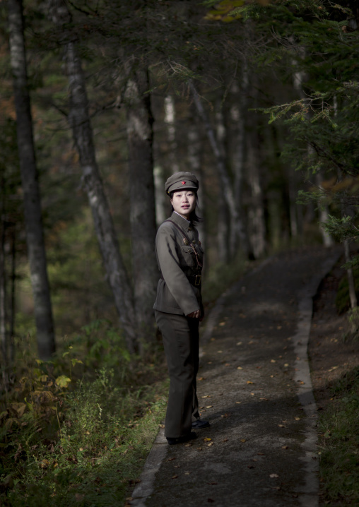 North Korean female guide at revolutionary site, Ryanggang Province, Chongbong, North Korea