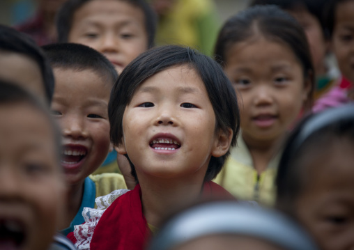 Group of North Korean children in a school, South Hamgyong Province, Hamhung, North Korea