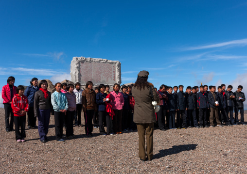 North Korean students at the top of mount Paektu, Ryanggang Province, Mount Paektu, North Korea