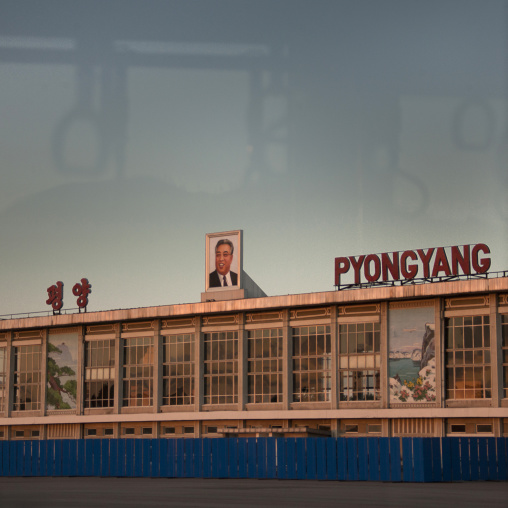 Pyongyang airport from bus window at dusk, Pyongan Province, Pyongyang, North Korea