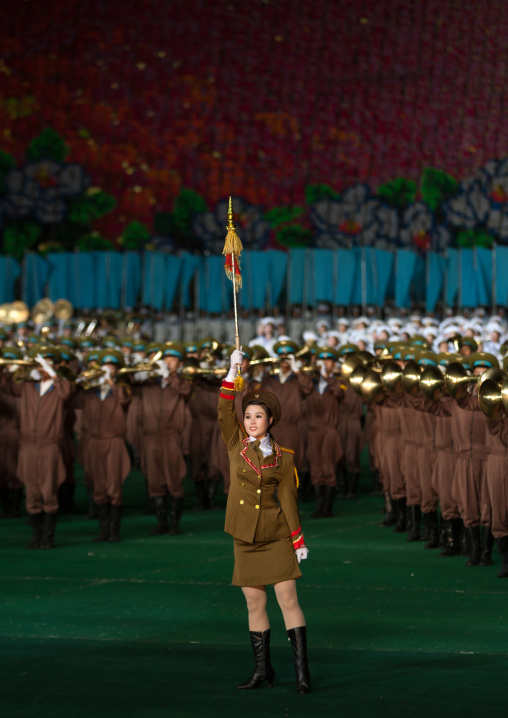 Sexy North Korean women dressed as soldiers dancing with swords during the Arirang mass games in may day stadium, Pyongan Province, Pyongyang, North Korea